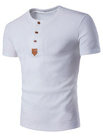 Shop Artificial Leather Patched Henley T-Shirt
