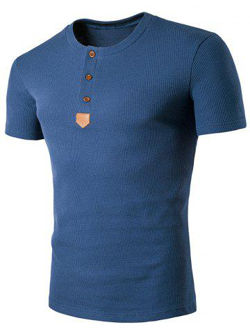 Cheap Artificial Leather Patched Henley T-Shirt