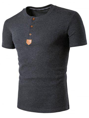 Outfits Artificial Leather Patched Henley T-Shirt