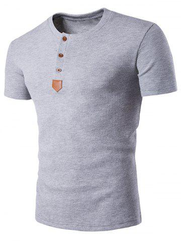 Discount Artificial Leather Patched Henley T-Shirt