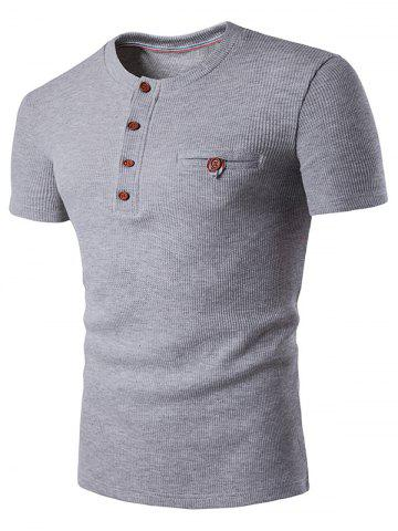 Faux Pocket T-shirt Henley