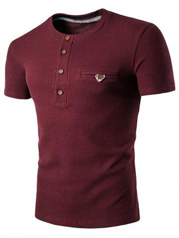 Fashion Fake Pocket Henley T-Shirt