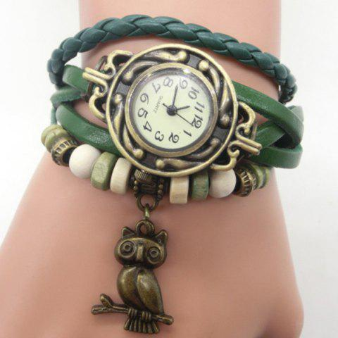 Trendy Owl Pendant Number Vintage Bracelet Watch