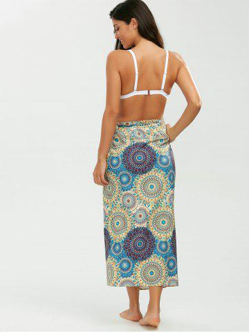 Unique Tribal Loop Printed Lace Up Sarong - ONE SIZE YELLOW Mobile