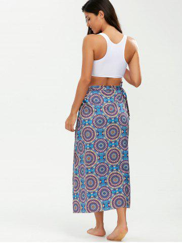 Best Tribal Loop Printed Lace Up Sarong - ONE SIZE PURPLE Mobile
