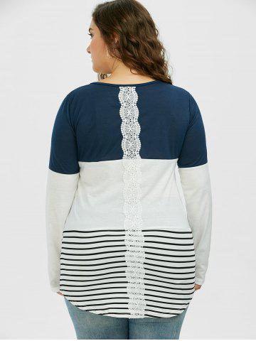 Hot Color Block Stripe Plus Size Top - 2XL CADETBLUE Mobile