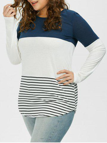 Shop Color Block Stripe Plus Size Top - XL CADETBLUE Mobile