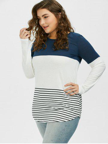 Fashion Color Block Stripe Plus Size Top - XL CADETBLUE Mobile