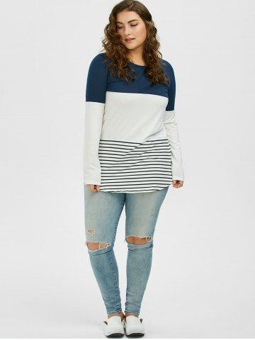 Affordable Color Block Stripe Plus Size Top - XL CADETBLUE Mobile