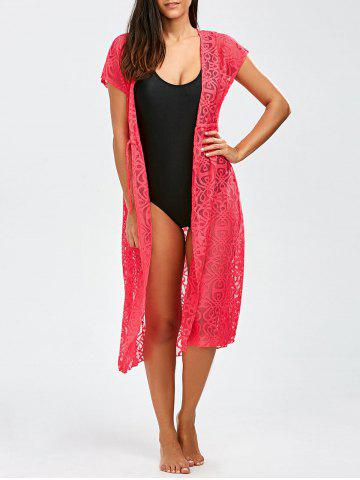 Hot Mesh Beach Kimono  Robe Cover-Up Dress PINK XL