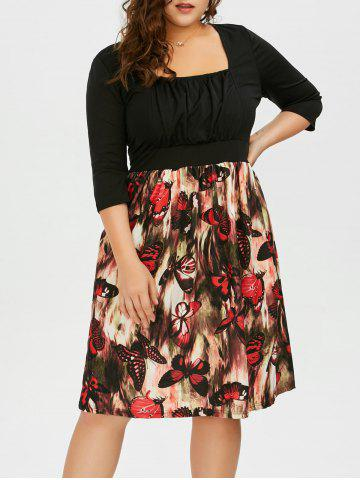 Plus Size Square Neck Butterfly Printed A Line Dress - Black - 2xl