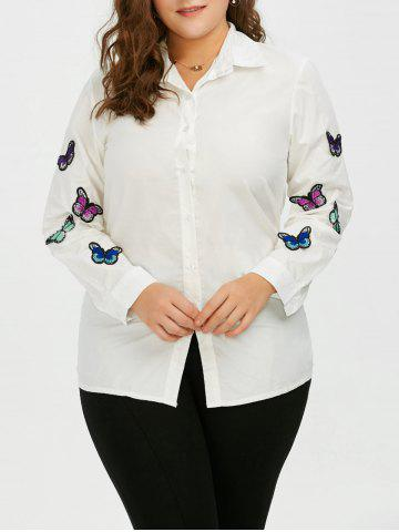 Plus Size Butterfly Embroidered Button Up Casual Shirt - White - 5xl