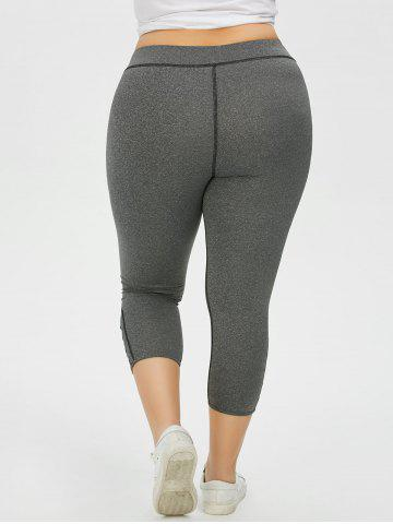 Best Plus Size Side Criss Cross Capri Leggings - 2XL GRAY Mobile