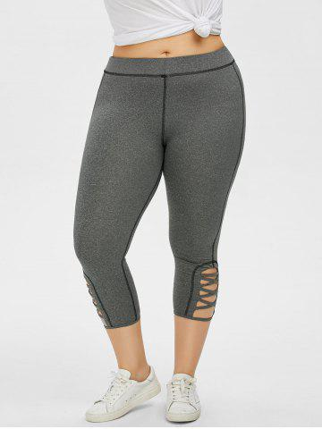 Hot Plus Size Side Criss Cross Capri Leggings - 2XL GRAY Mobile