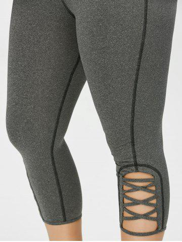 Sale Plus Size Side Criss Cross Capri Leggings - 2XL GRAY Mobile