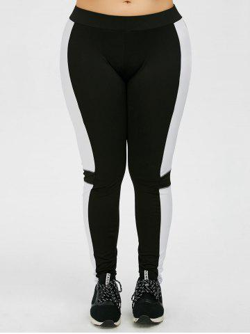 Latest Plus Size Colorblock Workout Leggings - 2XL BLACK Mobile