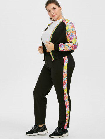 Chic Plus Size Floral Zipper Jacket With Joggers - 3XL BLACK Mobile