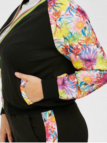 New Plus Size Floral Zipper Jacket With Joggers - 4XL BLACK Mobile