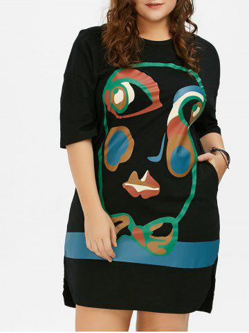 Plus Size Abstract Face Print T-Shirt Dress - Black - One Size
