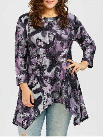 Chic Long Plus Size Butterfly Pattern Asymmetric T-Shirt DEEP PURPLE 2XL