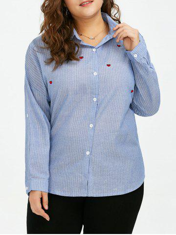 Plus Size Heart Embroidered Stripe Formal Shirt - Blue - 5xl