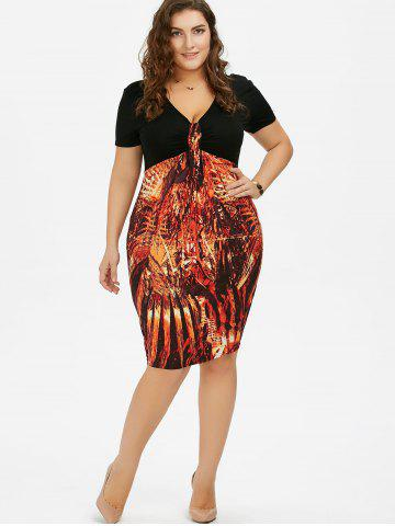 Sale Plus Size High Waist Sheath Dress - 5XL COLORMIX Mobile