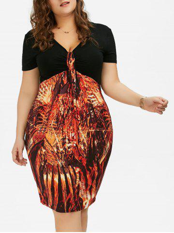 Affordable Plus Size High Waist Sheath Dress - 5XL COLORMIX Mobile