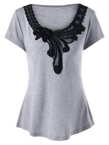 New Plus Size Applique T-Shirt - XL GRAY Mobile