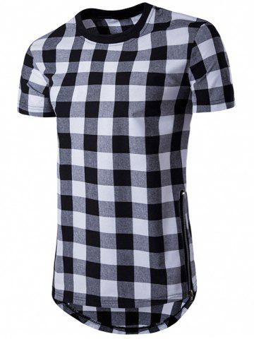 New Plaid Side Zips Hem T-Shirt