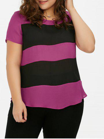 Single Breasted Plus Size Striped Blouse - Black And Rose Red - 5xl