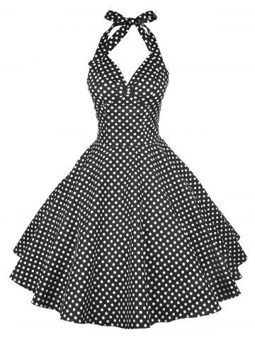 Fancy Vintage Halter Polka Dot Pin Up Dress BLACK S