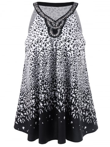 Hot Plus Size Beading Embellished Tank Top - 3XL WHITE AND BLACK Mobile