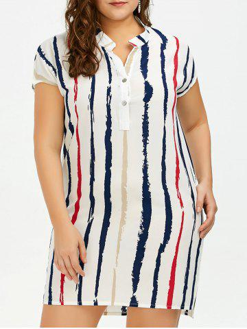 Fancy Plus Size Tie Dye Stripe Fitted Tunic Shirt Dress WHITE 2XL