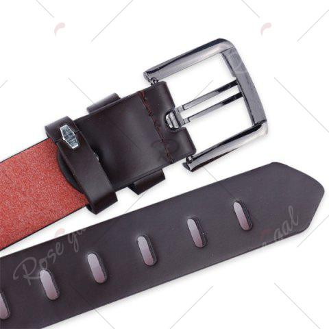 Latest Filmstrip Style Wide Belt with Pin Buckle - WHITE  Mobile
