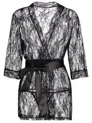 Lace See Thru Wrap Sleep Robe Transparent Sleepwear - BLACK