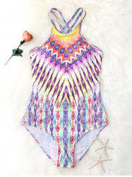 Criss Back One Piece Graphic Swimsuit