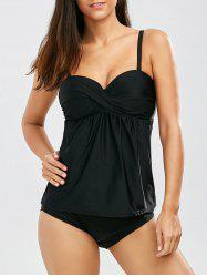 Push Up Spaghetti Strap Blouson Padded Tankini With Underwire - BLACK