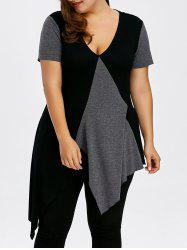 Plus Size Low Cut Asymmetric T-Shirt