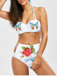 Cut Out High Waisted Bikini With Halter Top