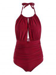 Halter High Waisted One Piece Swimsuit - WINE RED