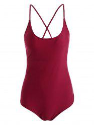 String Lace Up One Piece Swimsuit - WINE RED M