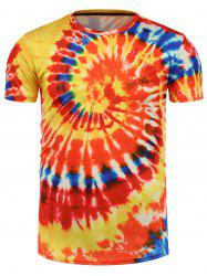 Tie Dye All Over Print T-Shirt - ORANGE