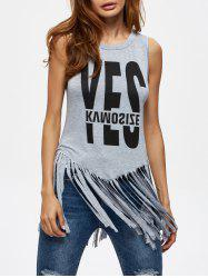 Yes Graphic Fringed Tank Top