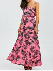 Strapless Leaves Print Summer Maxi Dress