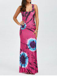 Tie Dye Criss Cross Maxi Tank Dress - MULTI
