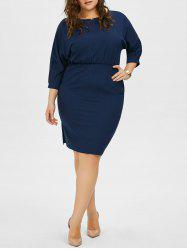 Plus Size Chiffon Dolman Sleeve Elastic Waist Dress