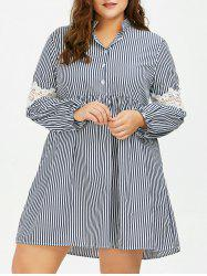Long Sleeve Plus Size Striped Smock Casual Shirt Dress -