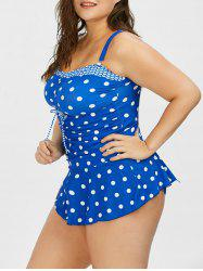 Polka Dot Plus Size Pin Up Skirted Tankini Swimsuit