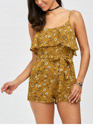 Flounce Belted Tiny Floral Romper - YELLOW XL