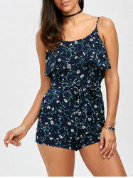 Flounce Belted Tiny Floral Romper